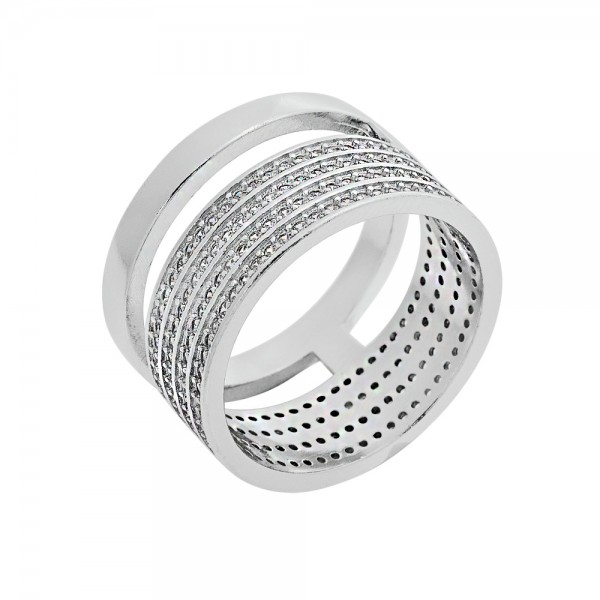 Ring silver 925 platinum plated with four row zircons PS/8A-RG108-1