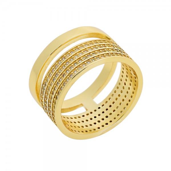 Δαχτυλίδι ασήμι 925 επιχρυσωμένο με τέσσερις σειρές ζιργκόν PS/8A-RG108-3