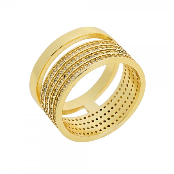 Ring silver 925 gold plated with four row zircons PS/8A-RG108-3
