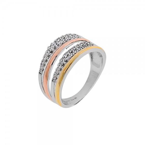 Δαχτυλίδι βεράκι ασήμι 925 επιπλατινωμένο με διπλή σειρά ζιργκόν 925 PS/9C-RG054-5