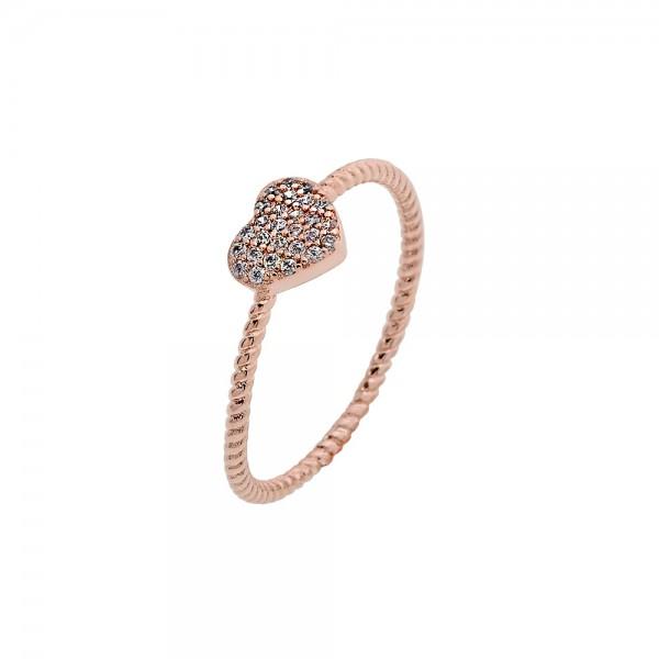 Δαχτυλίδι στριφτό ασήμι 925 ροζ επιχρυσωμένο με ζιργκόν PS/8A-RG123-2