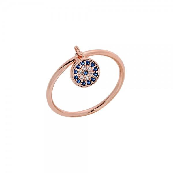 Δαχτυλίδι ασήμι 925 ροζ επιχρυσωμένο με ζιργκόν PS/8A-RG113-2M
