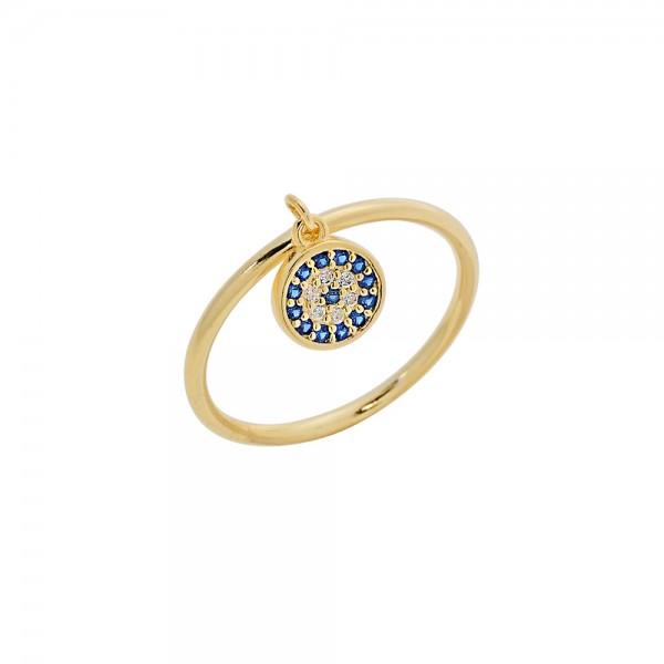 Δαχτυλίδι ασήμι 925 επιχρυσωμένο με ζιργκόν PS/8A-RG113-3M