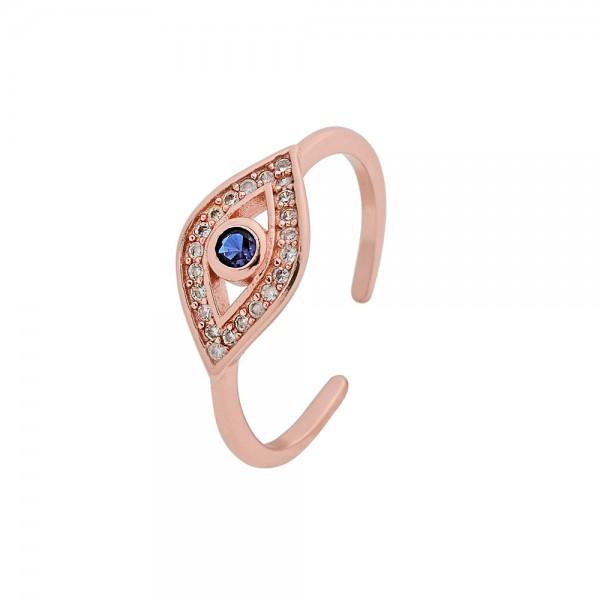 Δαχτυλίδι ασήμι 925 ροζ επιχρυσωμένο και οβάλ ματάκι με ζιργκόν PS/8A-RG109-2