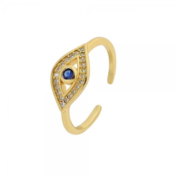 Δαχτυλίδι ασήμι 925 επιχρυσωμένο και οβάλ ματάκι με ζιργκόν PS/8A-RG109-3