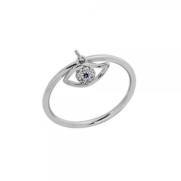 Δαχτυλίδι ασήμι 925 επιπλατινωμένο με ματάκι και ζιργκόν PS/8A-RG114-1M