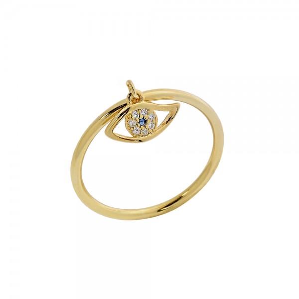 Δαχτυλίδι ασήμι 925 επιχρυσωμένο με ματάκι και ζιργκόν PS/8A-RG114-3M