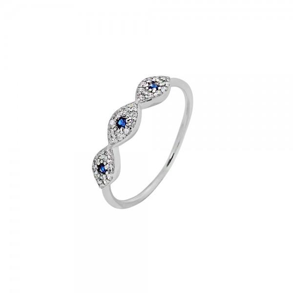 Δαχτυλίδι ασήμι 925 επιπλατινωμένο με οβάλ ματάκια και ζιργκόν PS/8A-RG118-1M