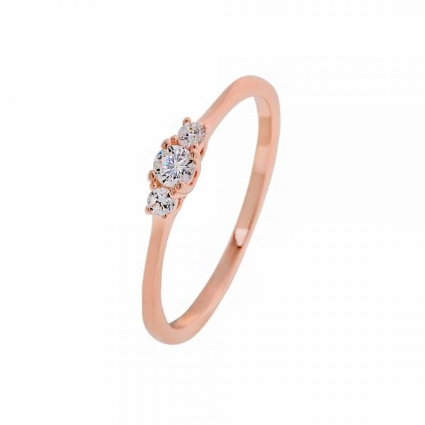 Δαχτυλίδι σειρέ ασήμι 925 ροζ επιχρυσωμένο με ζιργκόν PS/8O-RG002-2
