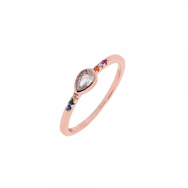 Δαχτυλίδι ασήμι 925 ροζ επιχρυσωμένο με ζιργκόν σε σχήμα δάκρυ PS/8TA-RG003-2O