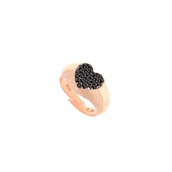 Δαχτυλίδι ασήμι 925, με ροζ επιχρύσωση & με μαύρα σπινέλια GRE-30856
