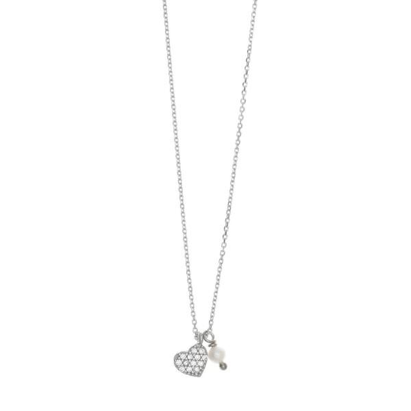 Κολιέ ασήμι 925, επιπλατινωμένο με λευκά zirconia GRE-34641