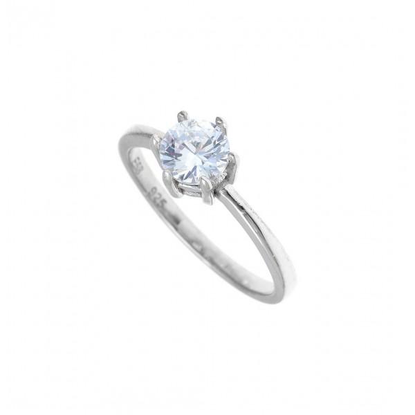 Δαχτυλίδι ασήμι 925 επιπλατινωμένο με zirconia GRE-41198