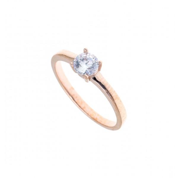 Δαχτυλίδι ασήμι 925 με ροζ επιχρύσωση & με zirconia GRE-41211