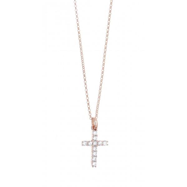 Κολιέ ασήμι 925 με ροζ επιχρύσωση & με zirconia GRE-41272