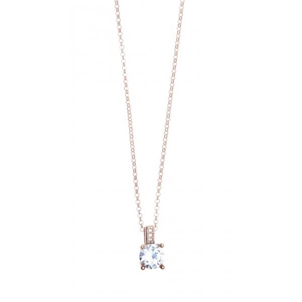 Κολιέ ασήμι 925 με ροζ επιχρύσωση & με zirconia GRE-41420