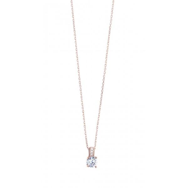 Κολιέ ασήμι 925 με ροζ επιχρύσωση & με zirconia GRE-41426