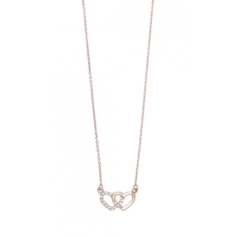 Κολιέ ασήμι 925 με ροζ επιχρύσωση & με zirconia GRE-41543