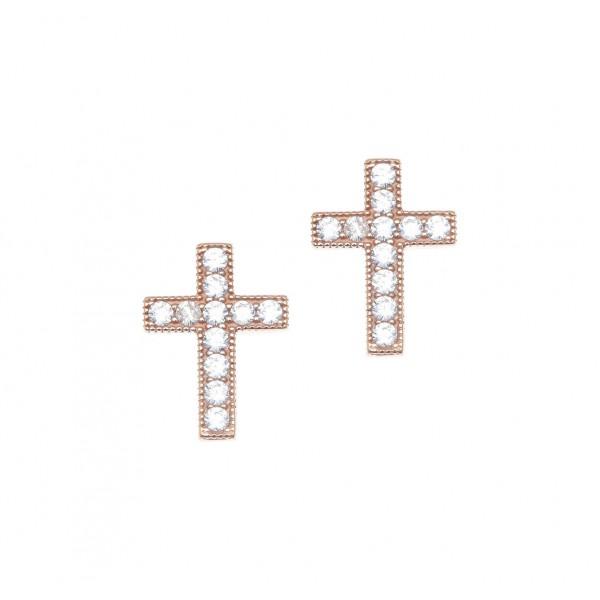 Σκουλαρίκια ασήμι 925 με ροζ επιχρύσωση & με zirconia GRE-41650