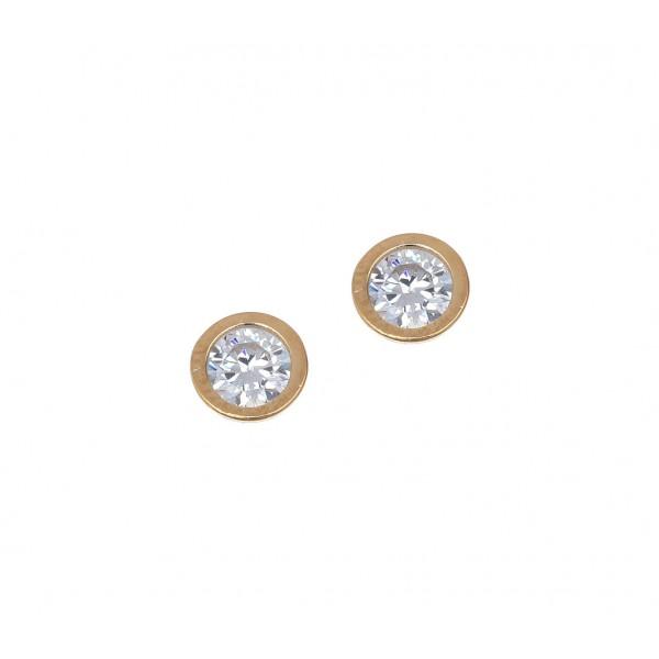 Σκουλαρίκια ασήμι 925 επιχρυσωμένα με zirconia GRE-41656