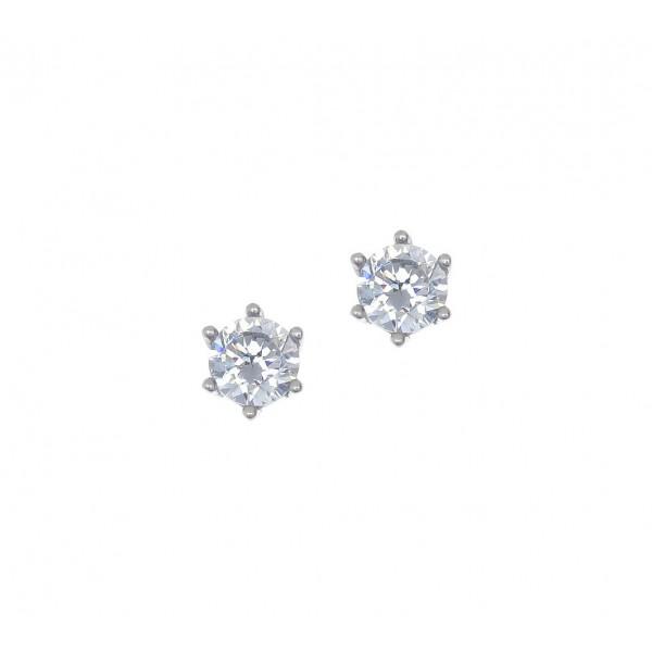 Σκουλαρίκια ασήμι 925 επιπλατινωμένα με zirconia GRE-41675