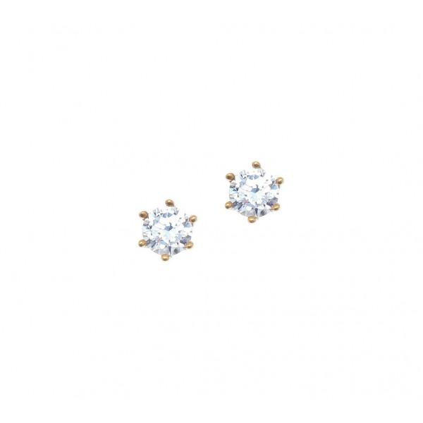 Σκουλαρίκια ασήμι 925 επιχρυσωμένα με zirconia GRE-41677