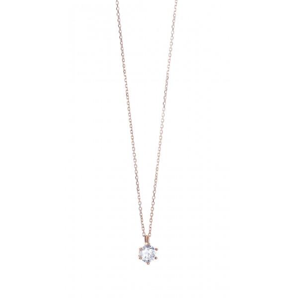 Κολιέ ασήμι 925 με ροζ επιχρύσωση & με zirconia GRE-41810