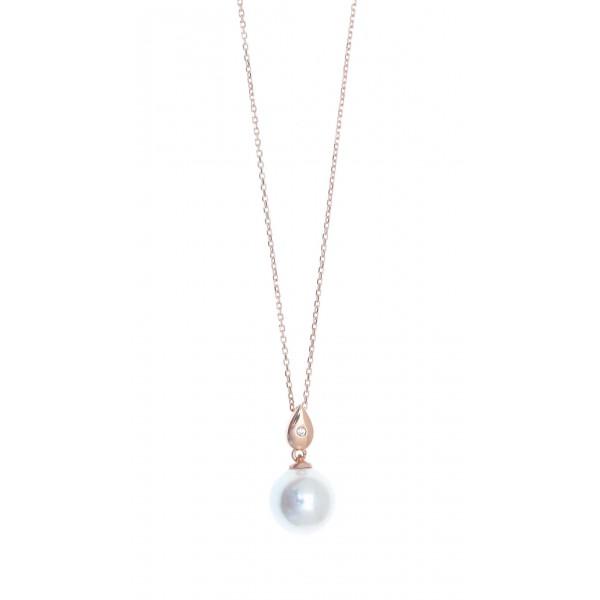 Κολιέ ασήμι 925 με ροζ επιχρύσωση & shell pearl GRE-41857