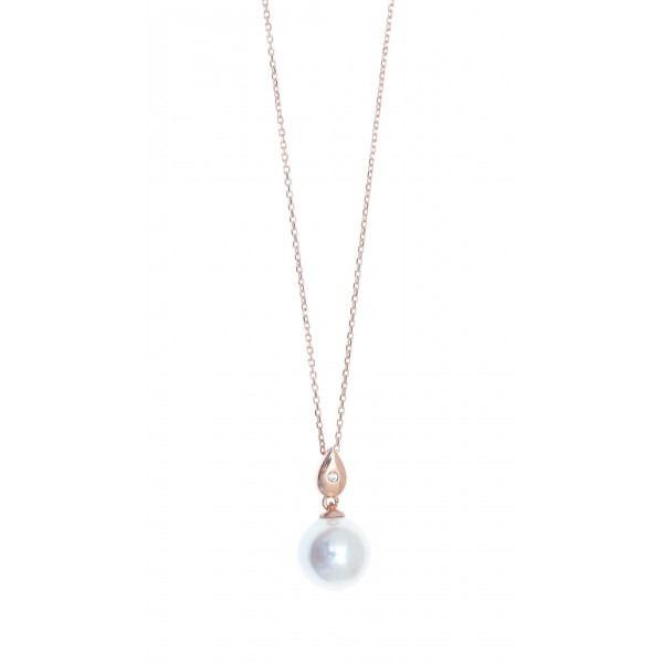 Necklace in silver 925 pink gold plated with shell pearls GRE-41857