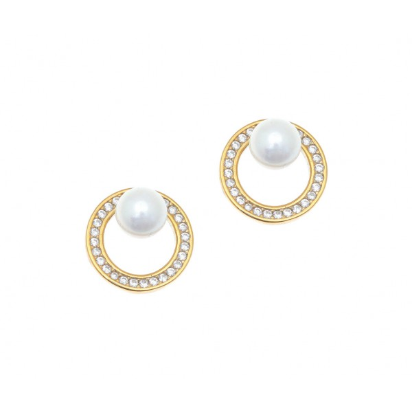 Earrings in silver 925 gold plated with shell pearls GRE-41892