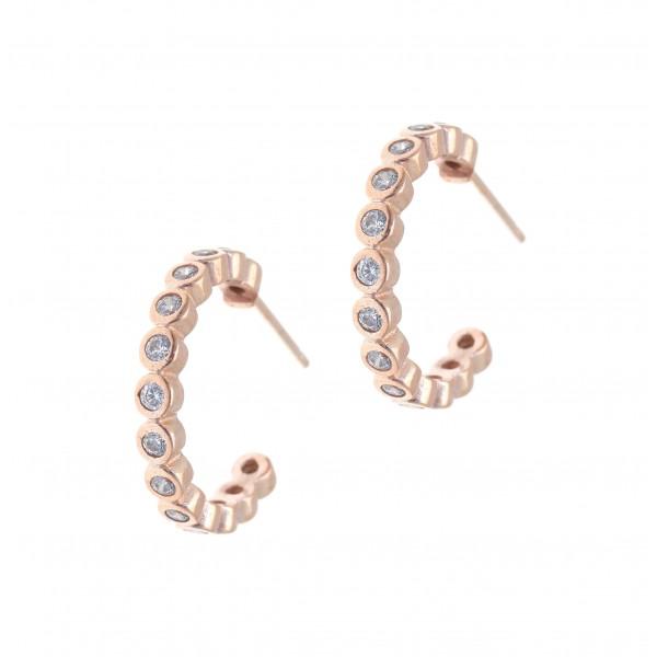 Σκουλαρίκια ασήμι 925 με ροζ επιχρύσωση & με συνθετικές πέτρες GRE-42159