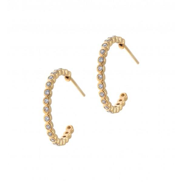 Σκουλαρίκια ασήμι 925 με επιχρύσωση & με συνθετικές πέτρες GRE-42164