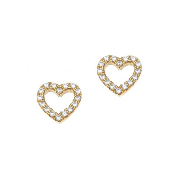 Σκουλαρίκια ασήμι 925 επιχρυσωμένα & με zirconia GRE-42371