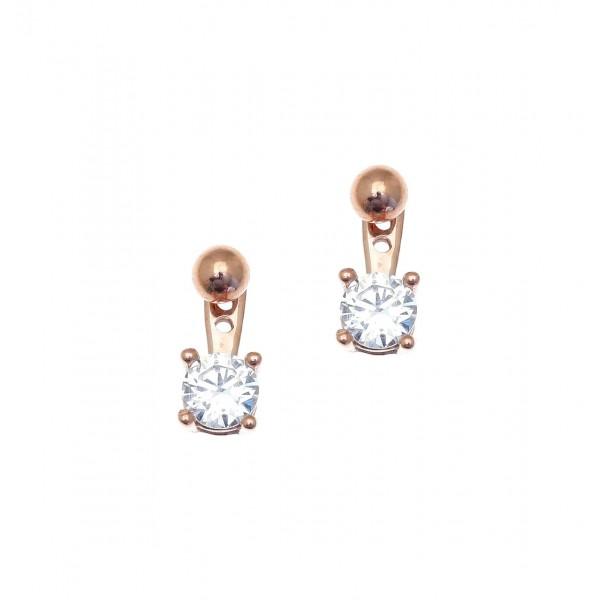 Σκουλαρίκια ασήμι 925 με ροζ επιχρύσωση & με συνθετικές πέτρες GRE-42642