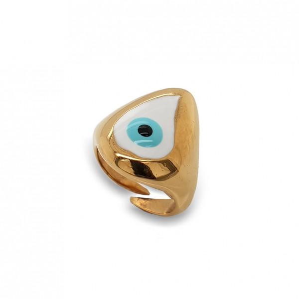 Δαχτυλίδι ασήμι 925 επιχρυσωμένο με χειροποίητο μάτι από σμάλτο GRE-50482
