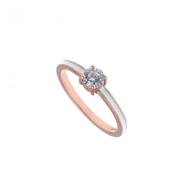 Δαχτυλίδι ασημένιο 925 με ροζ επιχρύσωση, zirconia και σμάλτο GRE-53503