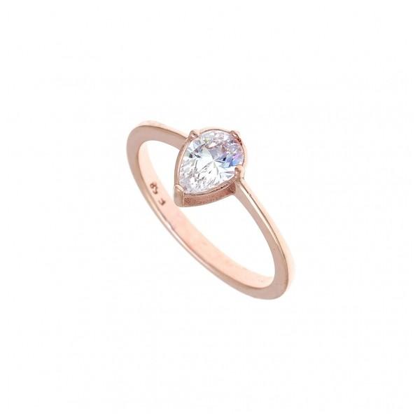 Δαχτυλίδι ασημένιο 925 με ροζ επιχρύσωση και λευκό zircon GRE-43783
