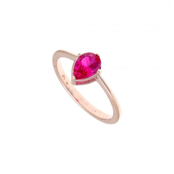 Δαχτυλίδι ασημένιο 925 με ροζ επιχρύσωση και κόκκινο zircon GRE-43784