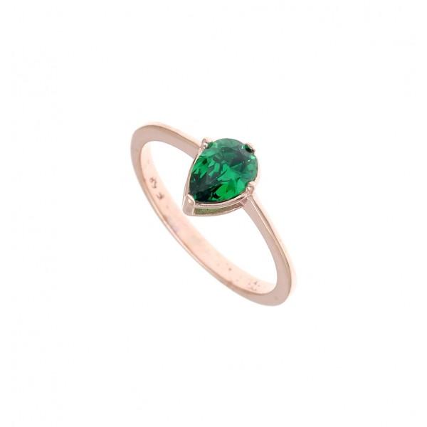 Δαχτυλίδι ασημένιο 925 με ροζ επιχρύσωση και πράσινο zircon GRE-43788