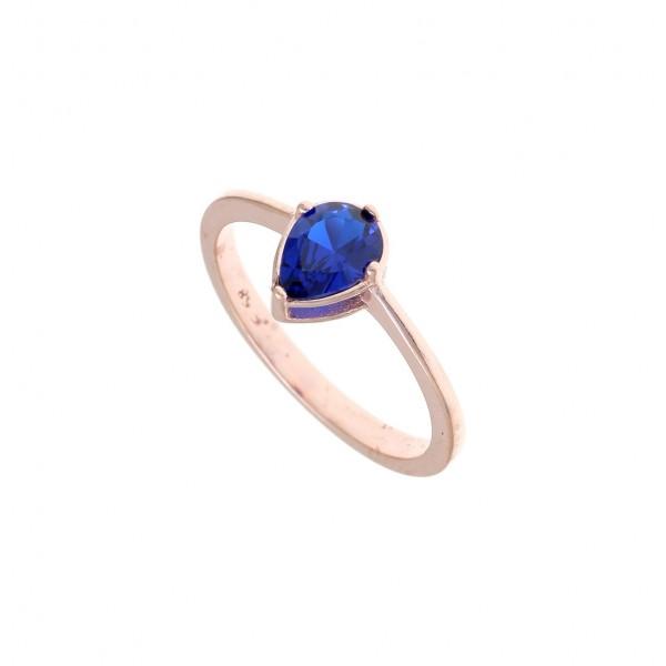 Δαχτυλίδι ασημένιο 925 με ροζ επιχρύσωση και μπλέ zircon GRE-43785