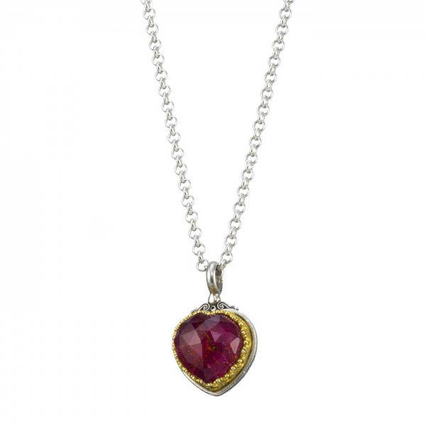 Iris Heart pendant in Sterling Silver with Gold Plated Parts GER-1712C