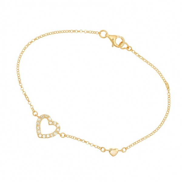 Bracelet in silver 925 gold plated with white zirconia GRE-44158