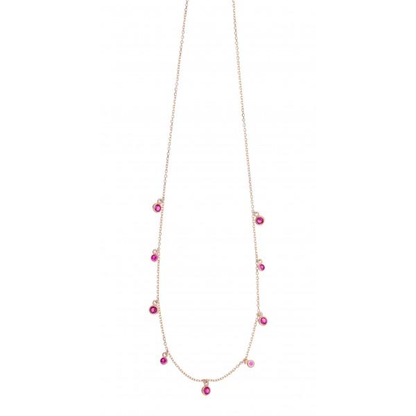 Κολιέ ασήμι 925 με ροζ επιχρύσωση & με zirconia GRE-47266