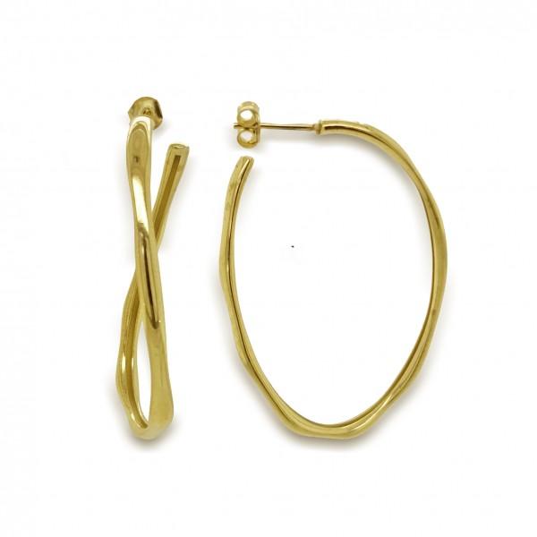 Σκουλαρίκια ασήμι 925 επιχρυσωμένο GRE-50334