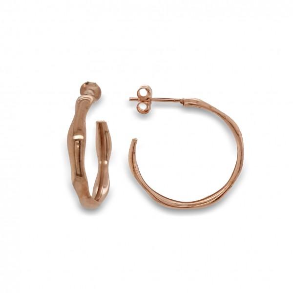 Σκουλαρίκια ασήμι 925 με ροζ επιχρύσωση GRE-49791