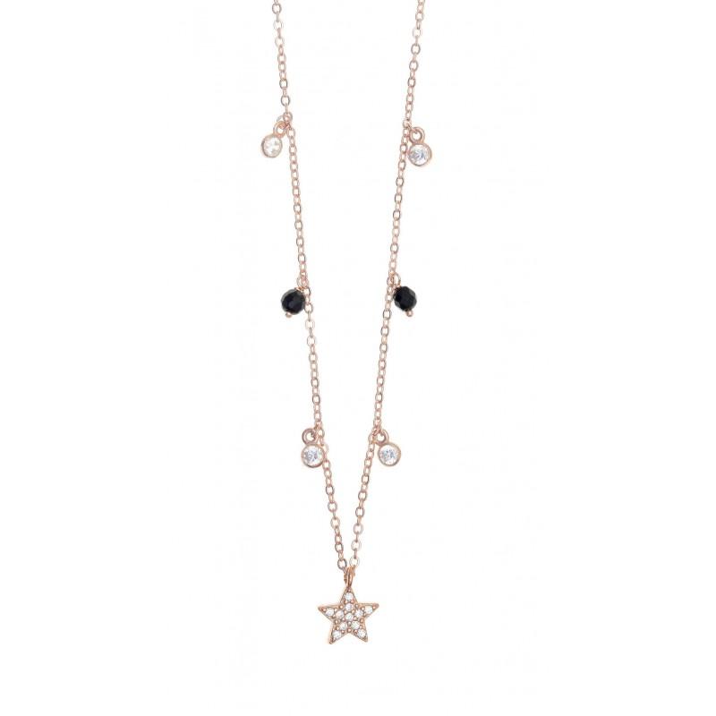 Κολιέ ασήμι 925 με ροζ επιχρύσωση & με zirconia GRE-46619