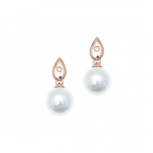 Σκουλαρίκια ασήμι 925 με ροζ επιχρύσωση & με shell pearl GRE-41906