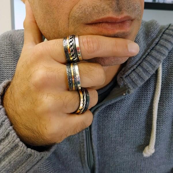 Χειροποίητο Δαχτυλίδι Ασήμι 925 - Χρυσό 18Κ KD-3157A