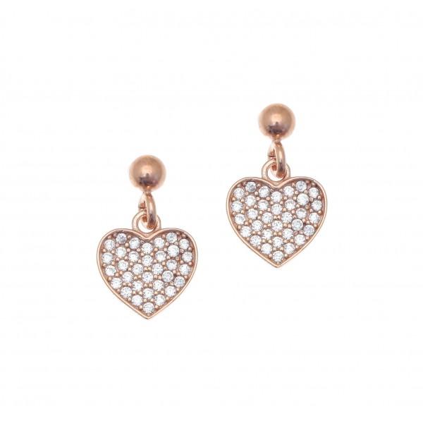 Σκουλαρίκια ασήμι 925 με ροζ επιχρύσωση και με zirconia GRE-42150