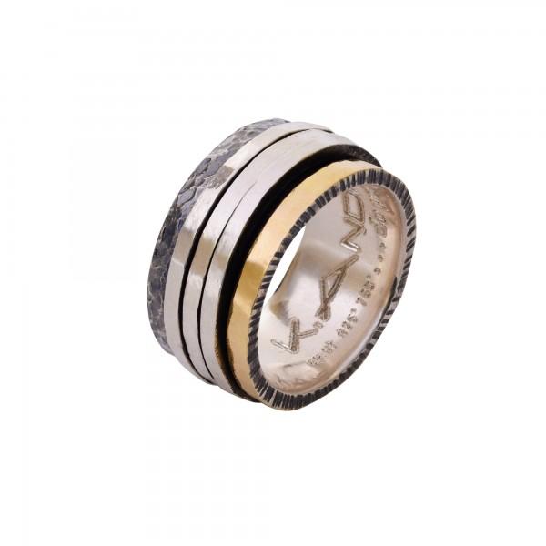 Χειροποίητο Δαχτυλίδι Ασήμι 925 - Χρυσό 18Κ KD-3048